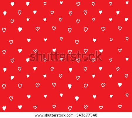 Start line young man begin way. Red doodles ornament background with hearts. Color vector illustration. EPS8 - stock vector