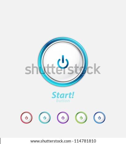 Start | power button - stock vector
