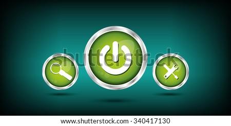 Start | power button. Find button - stock vector