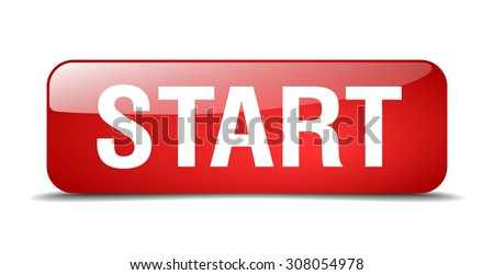 start red square 3d realistic isolated web button - stock vector