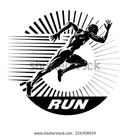 Start running. Vector illustration in the engraving style - stock vector