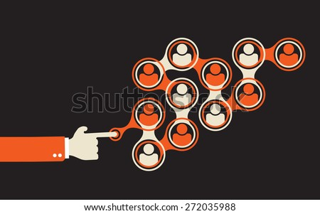 start spreading information using social network by pushing a right button - stock vector