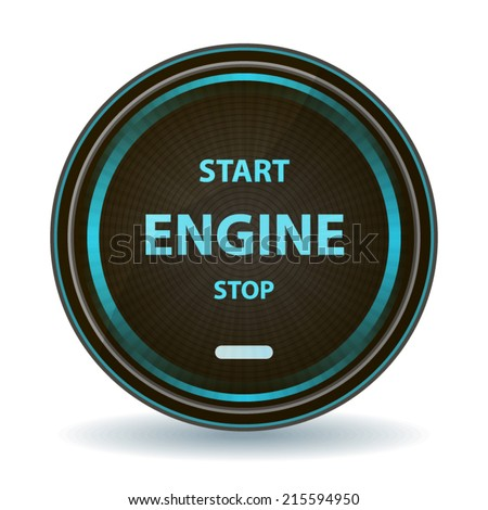 Start stop engine button or icon 3d blue design concept sign
