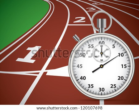 Start Track With Stopwatch. Lines On a Red Running Track. Vector - stock vector