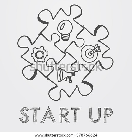 start up and business concept signs in puzzle pieces - text and idea, goal, advertise symbols in black white hand-drawn style, business building concept, vector - stock vector