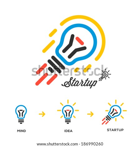 Start up business and Innovation concept network, bulb-rocket, vector image.  - stock vector