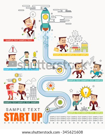 Start up business step strategic with info graphic elements, illustrator Vector