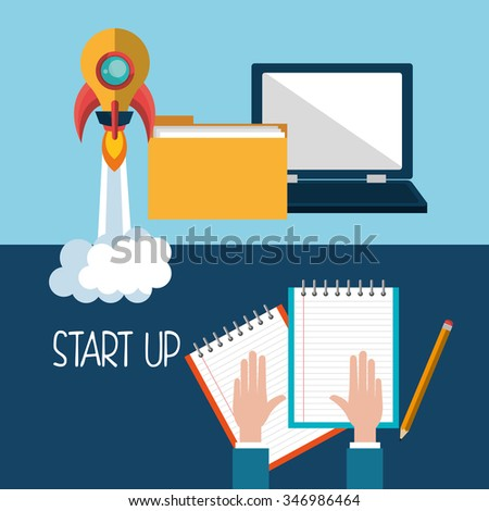 Start up company and business graphic design, vector illustration