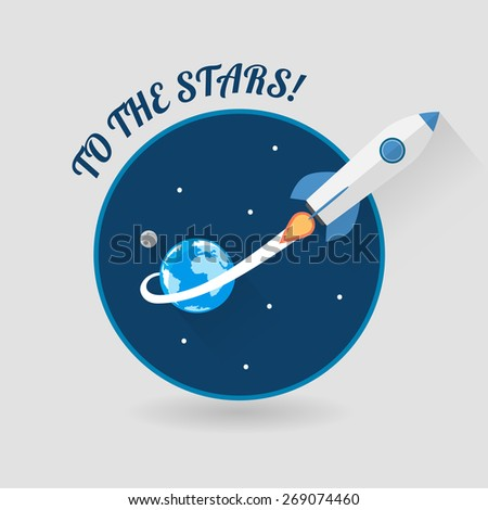Start Up Concept Symbol Space Rocket Ship Sky Icon Trendy Modern Flat Design Template Vector Illustration - stock vector