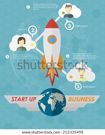 Start Up Concept Symbol Space Roket Ship Sky Icon Trendy . Steps to start your business, infographics template.  - stock vector