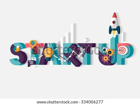 Start up concept. Typographic poster. - stock vector