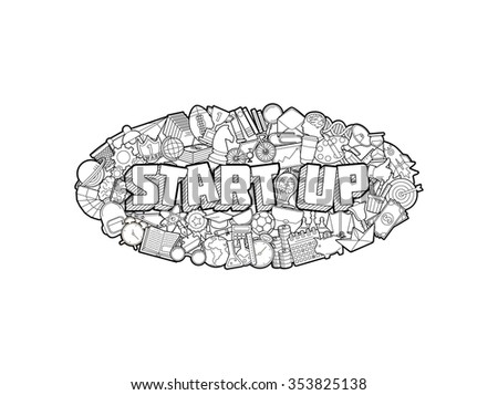Start up - Hand Lettering and Doodles Elements Sketch. Vector illustration - stock vector