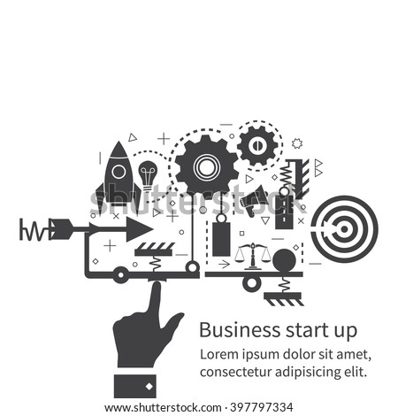 Start up new business project, concept. Flat design, vector illustration. Icons and symbols of business planning, strategy and start-up. The mechanism of start-up business