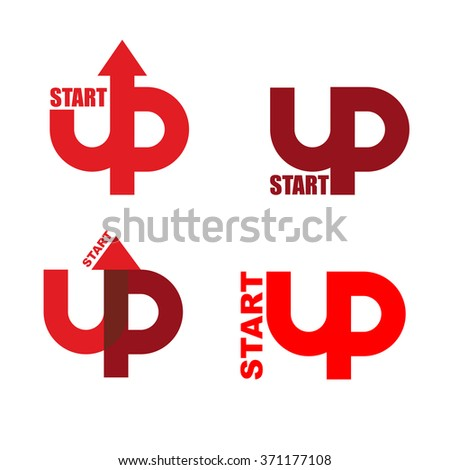 Start UP set logo. Emblem to start business projects. Up arrow. beginning of process of business. Sign for Running business projects. Startup  new business project and idea