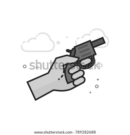 Starting gun icon in flat outlined grayscale style. Vector illustration.