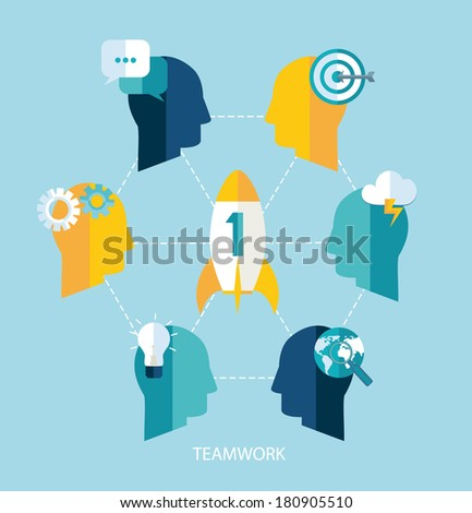 Startup and teamwork vector concept. Flat design. - stock vector