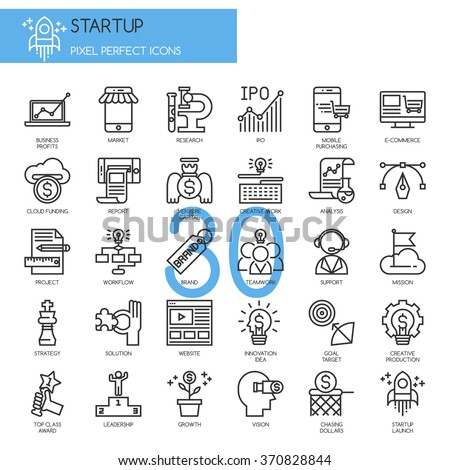 Startup business and launch , thin line icons set - stock vector