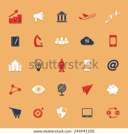 Startup business classic color icons with shadow, stock vector