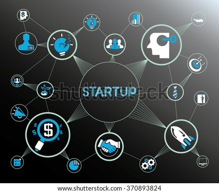 startup business concept, startup network - stock vector