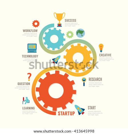 Startup Business design concept step gear idea. with flat icons. vector illustration - stock vector