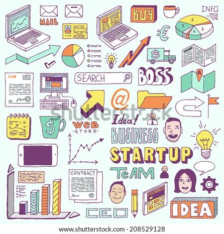 Startup business doodle set. Hand drawn vector illustration. - stock vector