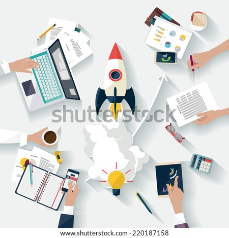 Startup concept. Flat design. - stock vector