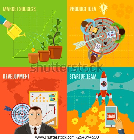 Startup design concept set with market success product idea development team flat icons isolated vector illustration - stock vector
