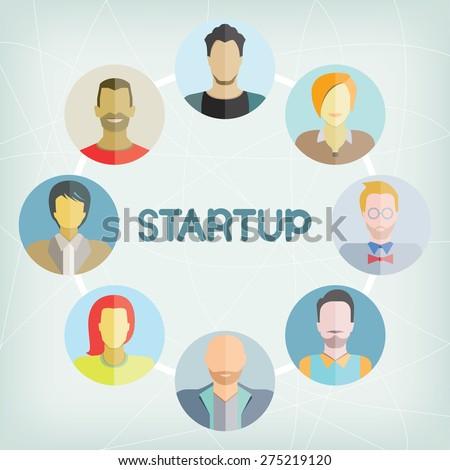 startup, entrepreneur - stock vector