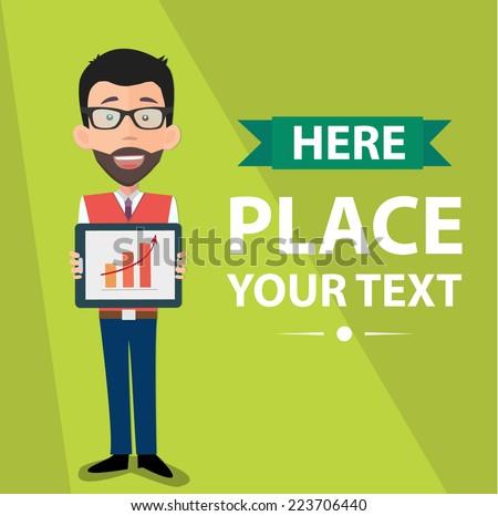 startup entrepreneur presenting information on tablet pc  - stock vector
