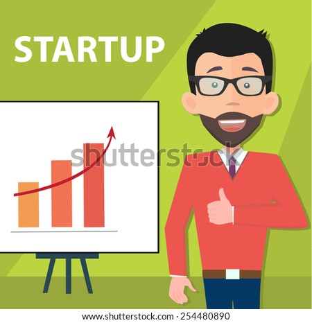 startup entrepreneur presenting information - poster with a place for your text - stock vector