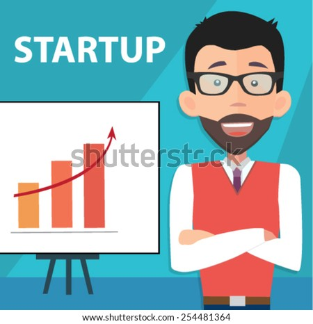 startup entrepreneur presenting information with business results - stock vector