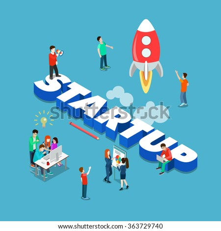 Startup flat 3d isometric style technology business concept web infographics vector illustration. Team working on spaceship launch start up and big word. Creative people collection. - stock vector
