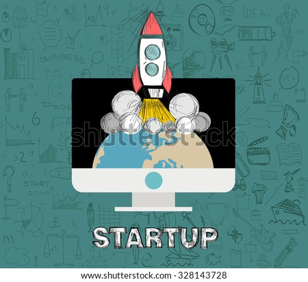 Startup. Flat design vector illustration concept of new business project.