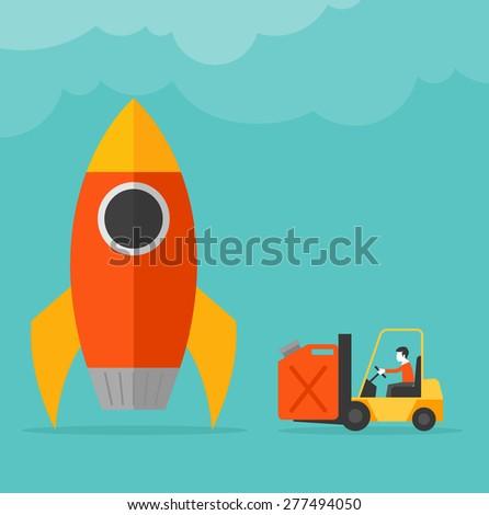 Startup launching concept rocket refuel - stock vector