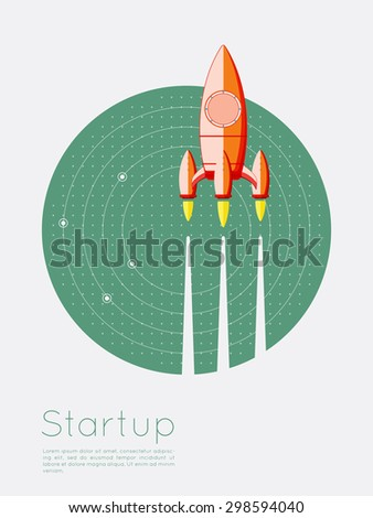 Startup new business project with rocket image on radar screen- Concept Flat design vector illustration - stock vector