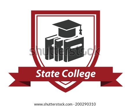 State College emblem logo with books and a mortarboard hat enclosed in a shield over a ribbon banner with the words State College - stock vector