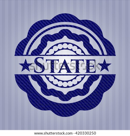 State emblem with jean texture - stock vector