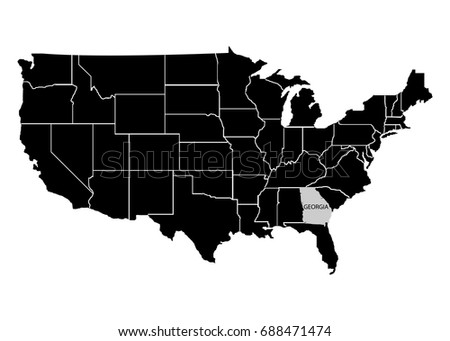 Usa Map Federal States Grey Stock Vector Shutterstock - Georgia on usa map