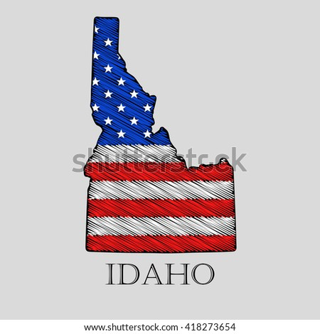 State Idaho in scribble style - vector illustration. Abstract flat map of Idaho with the imposition of US flag. - stock vector