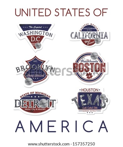 state of america label set - stock vector