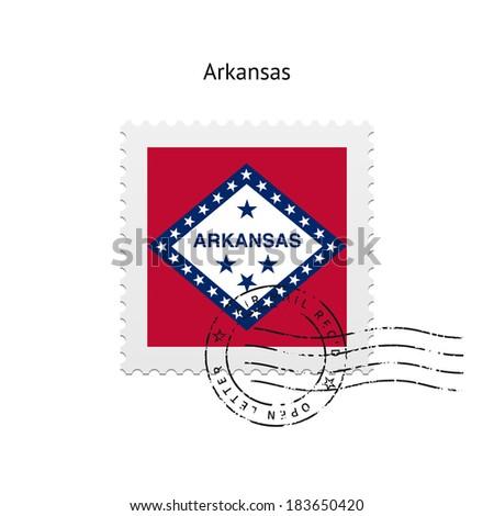 State of Arkansas flag postage stamp on white background. Vector illustration. - stock vector