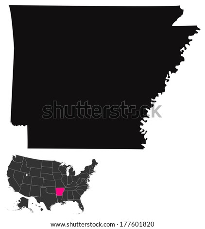 State of Arkansas, USA  - stock vector
