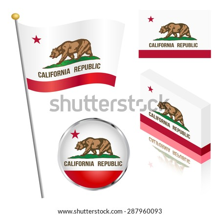 State of California flag on a pole, badge and isometric designs vector illustration.