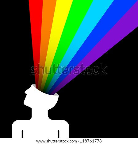 state of happiness with rainbow out of head