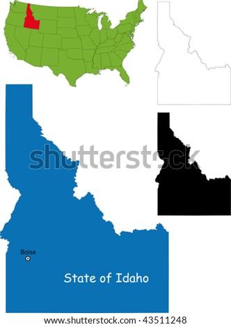 State of Idaho, USA - stock vector