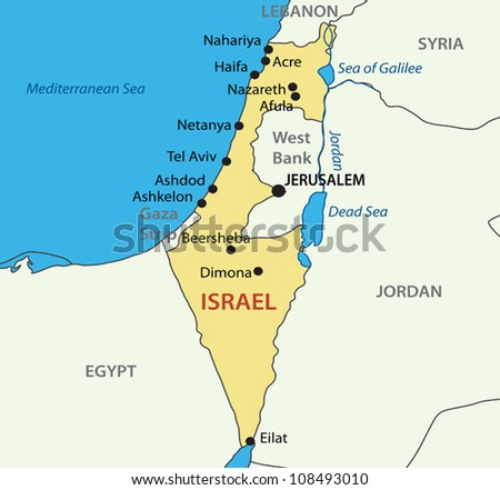 State of Israel - vector map - stock vector