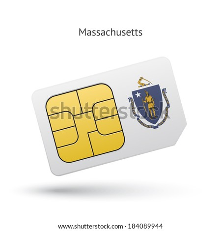 State of Massachusetts phone sim card with flag. Vector illustration. - stock vector