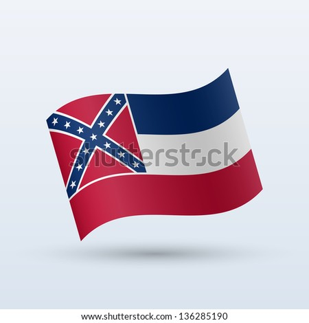 State of Mississippi flag waving form on gray background. Vector illustration. - stock vector
