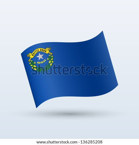 State of Nevada flag waving form on gray background. Vector illustration.