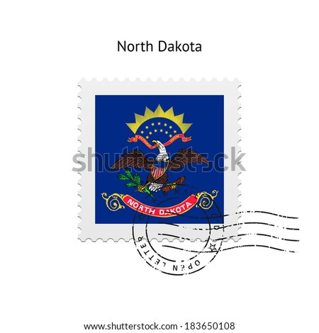 State of North Dakota flag postage stamp on white background. Vector illustration. - stock vector